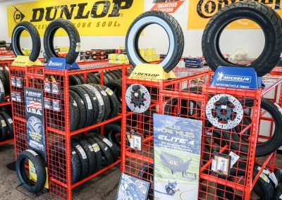 We display our motorcycle tires in a way that makes it easy to find and discuss