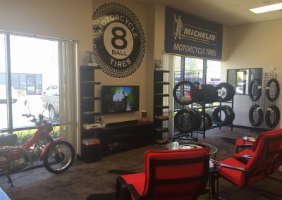 Chill in our comfy customer lounge and watch some racing and we'll change your tires while you wait