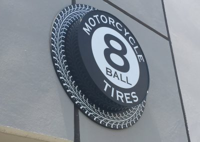 The iconic 8 Ball Motorcycle Tires logo